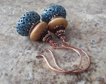 Bohemian Copper, Filigree & Bone Bead Earrings   Moroccan Inspired Stacked Dangles