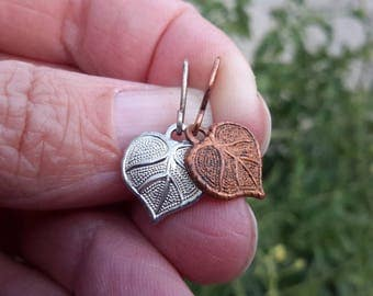 Tiny Leaf Earrings | Small Metal Drops  | Plain Silver or Copper Dangles