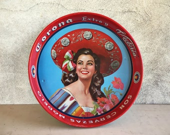 Vintage Corona Extra Cerveza serving tray pin up girl bar tray Mexican beer lover gift