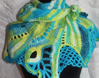 Boho Chic Turquoise Yellow Green Freeform Crochet Scarf Shawl Cape Wrap Neckwarmer, Bohemian knit scarf shawl, Winter accessories