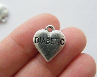 4 Diabetic charms antique silver tone MD85
