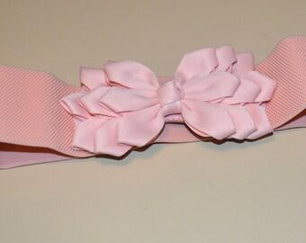 Flower cinch Bow belt, Wide elastic stretch corset belt, Peach stretch belt, Wedding belt, one size