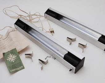Lightolier Strip Lights-PAIR Satin Aluminum Industrial Lightolier 8340 Shelf LIghts Counter Lights