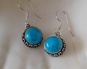 Vintage Turquoise Howlite Earrings