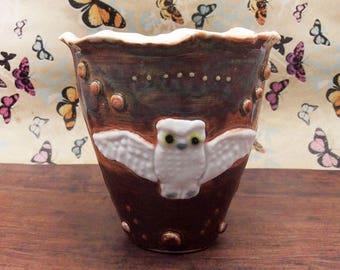 owl vase or pen holder vase / pencil vase or pencil holder Anita Reay bird art, ceramic bird art / rustic pottery / rustic decor