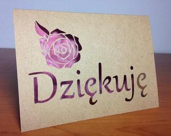 Dziękuję - Thank you in Polish - cut out card