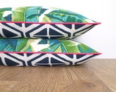 Palm leaf outdoor pillow pink case, geometric pillow cover beach house decor, green and blue outdoor cushion cover Palm beach decor