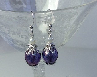 Amethyst Crystal and White Pearl Bridal Bridesmaid Earrings