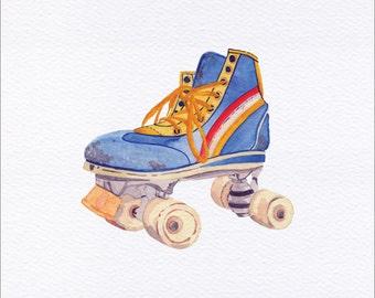 Retro Roller Skate Unframed Watercolor Art Print