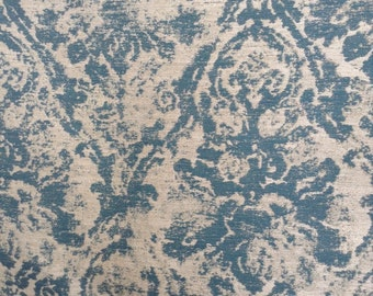 TURQUOISE OYSTER Comtemporary Damask Drapery Upholstery Cotton FABRIC by the yard;04-14-41-0515