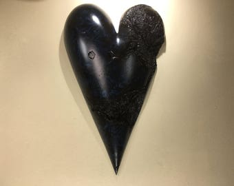 Best of etsy blue romantic heart art wood carving Wedding gift