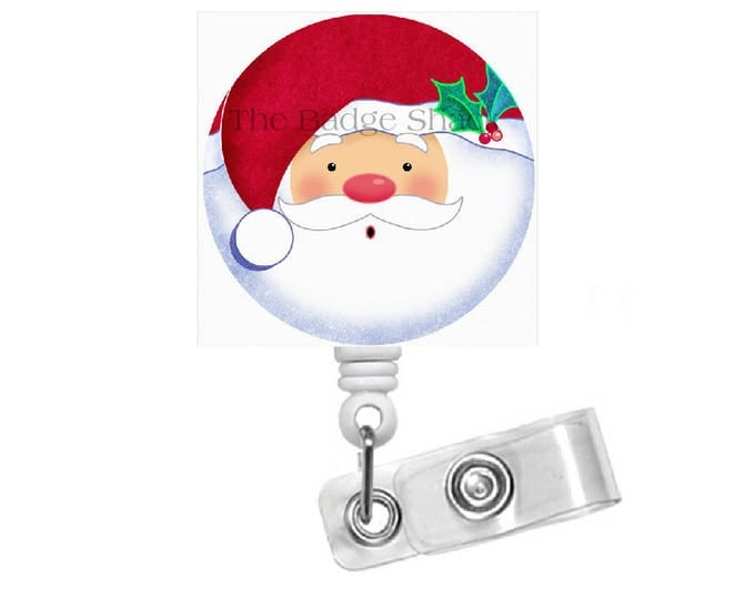 Santa Face 1.5  - Retractable ID Badge Holder - Holiday Badge Reel - Nurses Badge Holder - Nurse Badge - Teacher Badge - Gift under 10 - NP