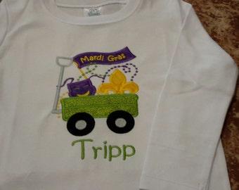 Mardi Gras shirt, children's personalized Mardi Gras shirt, Mardi Gras applique shirt