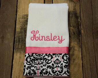 Personalized monogram girl burp cloth/baby shower gift