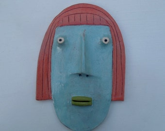 Mini Flathead Wall piece with pink hair, blue face