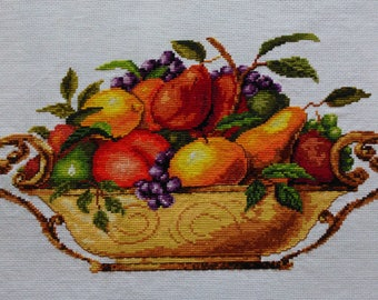 New Finished Completed Cross Stitch - Fruits II - 11CT - F103