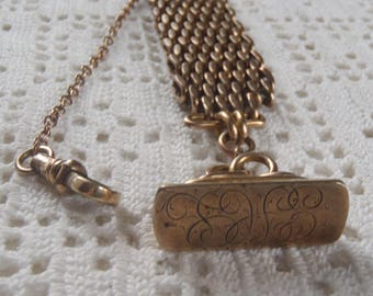 Vintage Vest Pocket Watch Chain with Monogrammed Seal H and H Star Mark