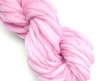 Handspun pink thick and thin yarn, spun super bulky - 52 yards, 2.95 ounces/ 83 grams