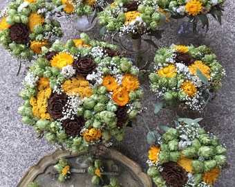 Wedding flowers, hops with cedar roses and billy balls/ craspedia, brewery wedding flowers