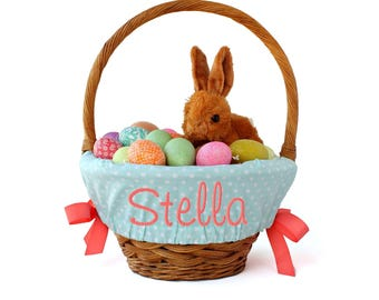 Personalized Easter Basket Liner, Mint Medium Dots, Includes Embroidered Name, Custom Basket Liner - You choose font, thread, and ribbons