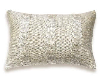 Decorative Cable Knit Pillow Cover In Off White Ivory 12x18 inch Lumbar Cushion Wool Cotton