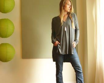Asymmetric Hem Tunic Long Sleeve TShirt Oversize Boxy Top Drop Shoulder V Neck Tunic Side Slit Vent - Jersey (More Colours) XS - XL