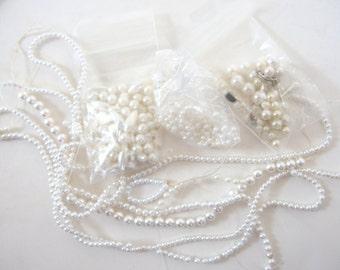 Soft White Pearls Destash, Various Sizes, Shapes, 1 1/2 Ounces