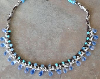 Crochet Choker Bib, beaded crochet necklace Boho necklace, Multi row crocheted choker, blue beads, Beaded Necklace