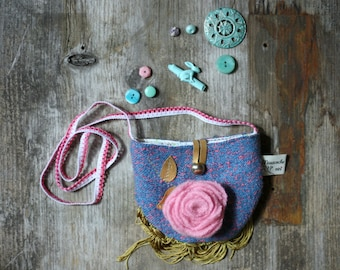 little girl's purse, bag, reclaimed wool and leather, blue, pink,gold,flowers,vintage trims