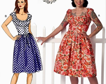 Ladies Dress Pattern, Gertie Dress Pattern, Gathered Dress Pattern, Buttterick Sewing Pattern 6322