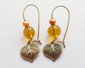Amber Leaf Earrings, Crystal Earrings, Pearl Earrings, Antique Gold Earrings, Gold Filled Ear Wires, Other Colours Available