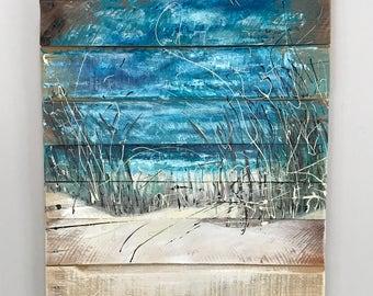 Beach Scene - Beach Art - Ocean - Wall Art - Coastal Decor - Surf - Dunes - Pallet Wood - Original Art - Home Decor - Landscape Painting