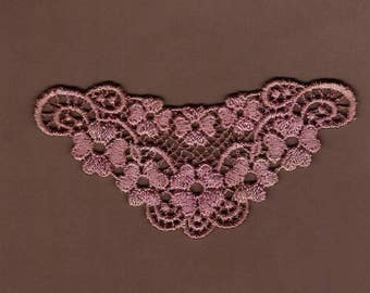 Hand Dyed Venise Lace Sweet Grace Floral  Vintage Aged Rose