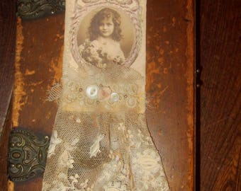 Vintage Lace Collage Sweet French Girl Embellished Altered Tag