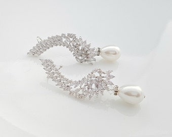 Bridal Cuff Earrings Bridal Crystal Ear Climbers Pearl Crystal Cuff Earrings Wedding Crystal Earrings Cuff, Adena