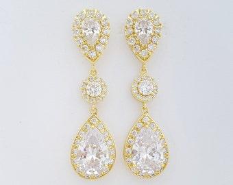 Gold Crystal Bridal Earrings Wedding Jewelry Large Cubic Zirconia Teardrop Earrings Gold Wedding Earrings, Penelope