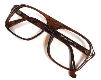 vintage 70s deadstock square brown frames eyeglasses plastic eye glasses browline aviator men 153