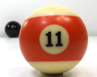 vintage 70s pool ball number 11 eleven red stripe resin billiard collectible object decorative home decor altered art game room men modern