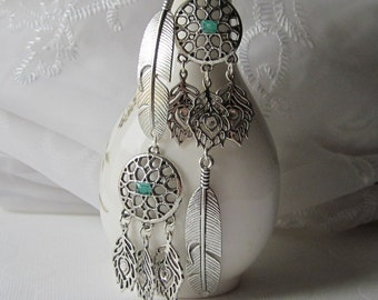 Boho Feather Earrings Dreamcatcher Earrings Long Asymmetrical Earrings Turquoise Crystal Chandelier Mismatched Earrings for Gypsy Earring