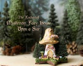 Mushroom Fairy House Upon a Star - Miniature Caramel Brown Capped Woodland Fae House with Gold Spots, Pine Trees, Mushrooms and Flower Boxes