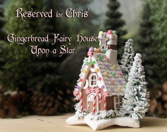 RESERVED for Chris - Gingerbread Fairy House Upon a Winter Star - Miniature Handcrafted Cottage - Iced Roof - Candy Canes & Snowy Pine Trees