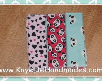 Reusable Wipes - Cloth Diaper Wipes - Flannel Washcloths - Set of 12 - Red Panda, Aqua Panda, Pink with Black Hearts