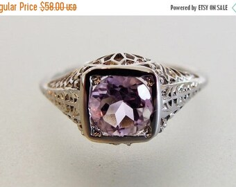 ON SALE Lovely Vintage Deco Style Sterling Filigree Amethyst Ring