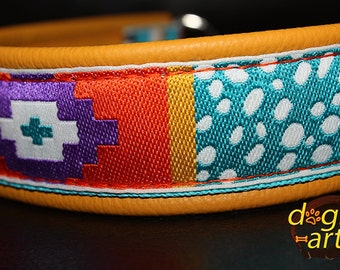 "Dog Collar ""Crazy 2"" by dogs-art, chain dog collar, yellow dog collar, colorful dog collar, leather dog collar, dog collar leather, collar"