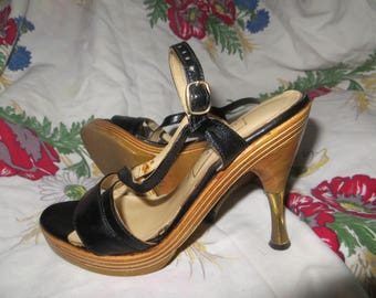 VINTAGE Miss Capezio  made in greece  wood plateform  black leather strappy   steletto heels  sz   5/6