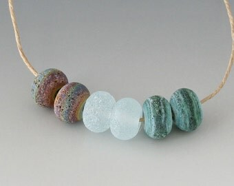Rustic Gems- (6) Handmade Lampwork Beads - Green, Brown, Blue