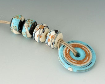 Rustic Pueblo - (5) Handmade Lampwork Beads - Turquoise, Black, Ivory and Tile - Etched, Matte, Tumbled