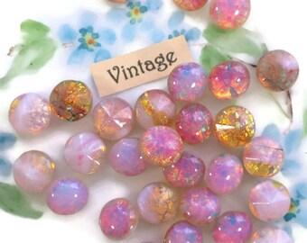 Vintage Harlequin stones, Glass Fire Opal stones,8mm harlequin, pink opal Stones, Shabby chic,Pink NOS Foil Old N611