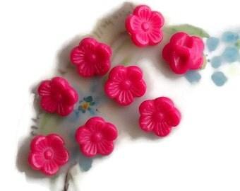 "Vintage Lucite Buttons,Pink flower buttons, Flower Rose Buttons, Pressed buttons, NOS buttons,3/8"" 10mm Carved Japan Fuschia. #1626"