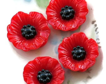 8 Poppy Cabochons Red Carved Shabby Floral Cabs Flowers Black 17mm Garden. #957